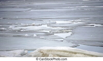 Spring destruction of ice at the seashore,