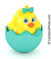 3d render of Easter funny chick in eggshell isolated on...