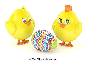 3d render of Easter chicks with painted egg isolated on...