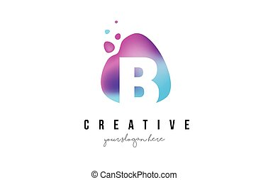 B Letter Dots Logo Design with Oval Shape. - B Letter Dots...