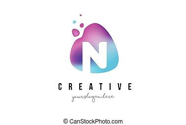 N Letter Dots Logo Design with Oval Shape. - N Letter Dots...