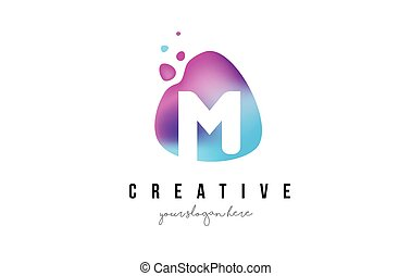 M Letter Dots Logo Design with Oval Shape. - M Letter Dots...
