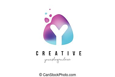 Y Letter Dots Logo Design with Oval Shape. - Y Letter Dots...