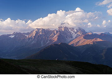 Mountain landscape with the peak of the clouds - Mountain...