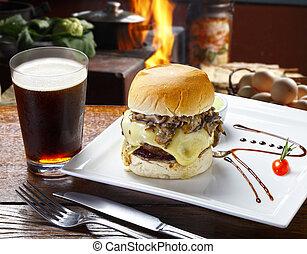 Hamburger with coke