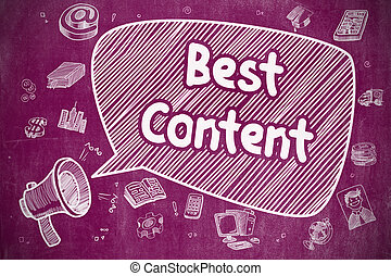 Best Content - Doodle Illustration on Purple Chalkboard. -...