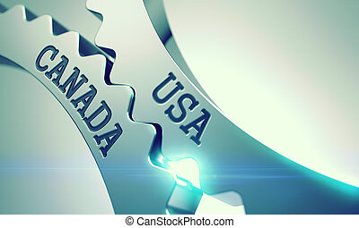 Usa Canada - Inscription on the Mechanism of Shiny Metal...