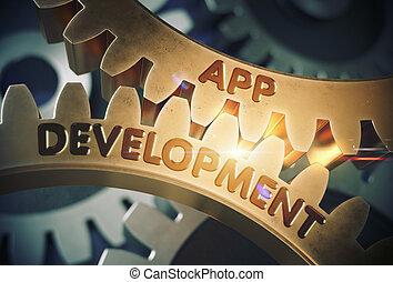 發展, 黃金, 插圖,  App, 齒輪,  3D