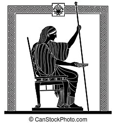 Vector Greek drawing. - Greek woman holds a cup in his...