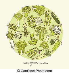 Green vegetables collection. Round design template