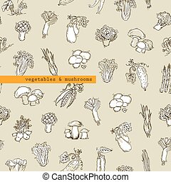 Seamless pattern - vegetables and mushrooms. Free hand...
