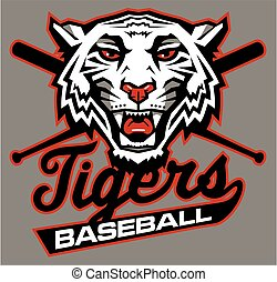 tigers baseball team design in script with mascot for...