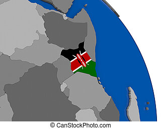 Kenya and its flag on globe