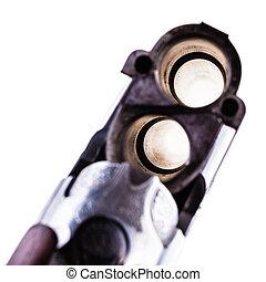 Shotgun breech closeup on white - detail of the breech of a...