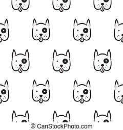 Boxer dog seamless vector monochrome pattern. Black and...