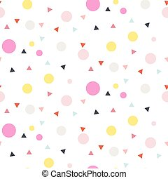 Confetti seamless white vector background. Pink and yellow...