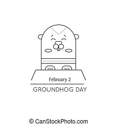 Groundhog day line icon - Vector thin line icon, Groundhog...