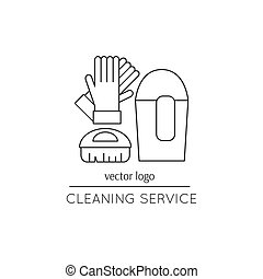 Cleaning service line icon - Vector thin line icon. Gloves,...