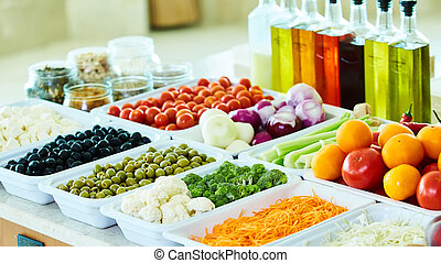 salad bar with vegetables in the restaurant, healthy food.