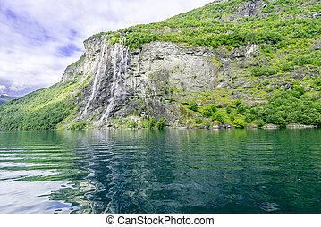 Geiranger Fjord - Waterfalls at Geiranger fjord Norway