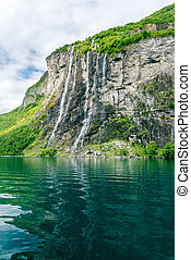 Seven sisters waterfall - Waterfalls at Geiranger fjord...