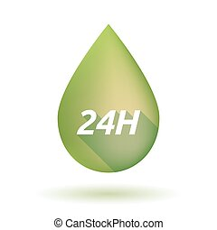 Isolated olive oil drop with the text 24H - Illustration of...