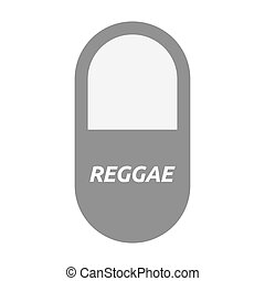 Isolated pill with the text REGGAE - Illustration of an...