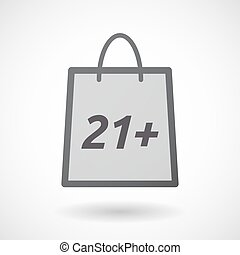 Isolated shopping bag with the text 21+ - Illustration of an...