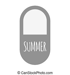 Isolated pill with    the text SUMMER