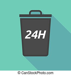 Long shadow trash can with the text 24H - Illustration of a...