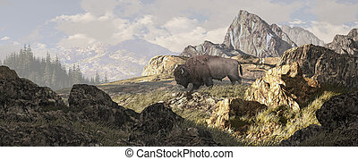 Bison In Yellowstone - A bison in a Yellowstone landscape