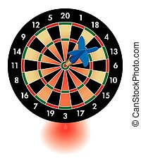 dart board bleeding from dart - concept of dart on bulls-eye...