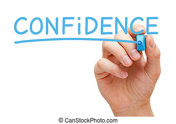 Confidence Handwritten With Blue Marker - Hand writing...