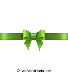 Green bow with ribbons on white background