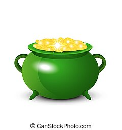 Patrick Day background with cauldron of gold coins. Vector illus