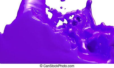 Animated violet car paint pouring and filling up screen....