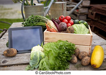 close up of vegetables with tablet pc on farm - harvest,...