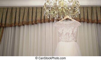 Wedding dress in the room shot