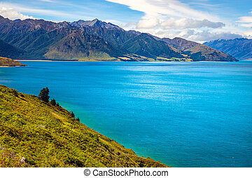 Landscape view of Lake Hawea and mountains, Otago, New...