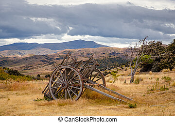 Remains of old miners abandoned town, Bendigo, New Zealand -...