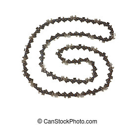 Power saw chain - Very long loop of cutting links for...