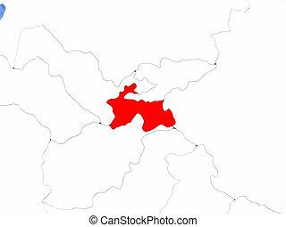 Tajikistan on globe - Political map Tajikistan in red. 3D...