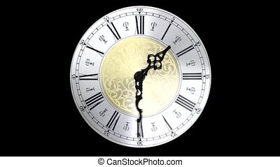 Clock face running forward at speed ornate grandfather time...