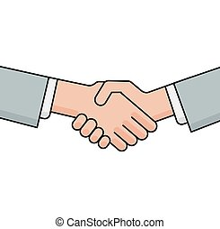 Business handshake, greeting and agreement sign on white...