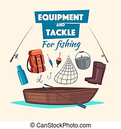 Fishing equipment and fisher vector tackle set - Fishing and...