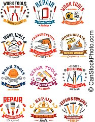 Repair construction work tools vector icons - Work tools...