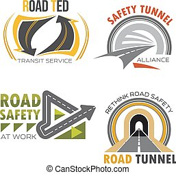 Road and highway isolated symbol set - Road and highway...
