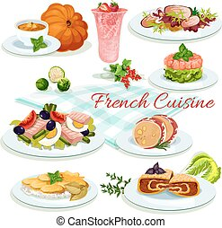 French cuisine popular dishes poster design - French cuisine...