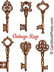 Vintage key and skeleton isolated sketch set - Vintage key...