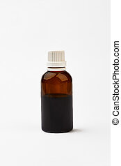 Bottle with cough medicine. White cap on brown vial. Be...